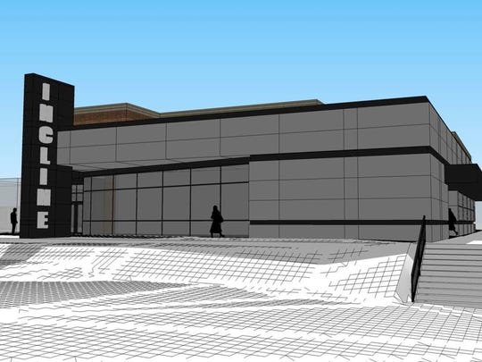 An artist's rendering of a $10 million theater and parking garage project in the Incline District.