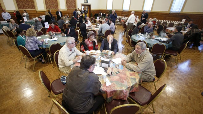 Local Tallahassee officials meet with residents during a 'Speed Dating' event hosted by Village Square Thursday at St. John's Episcopal Church.