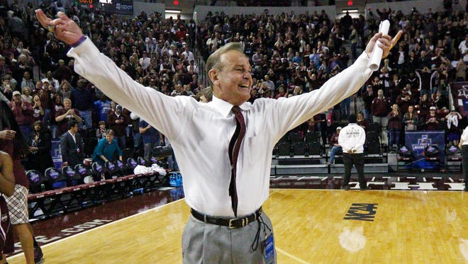 Mississippi State coach Vic Schaefer celebrates his team's second-round victory Michigan State in the NCAA Tournament.