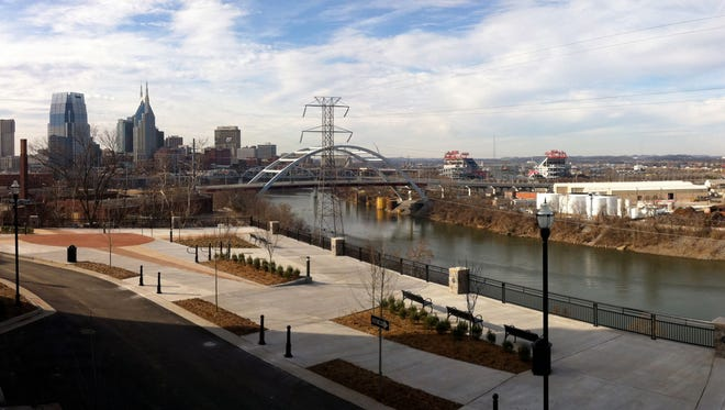A panoramic view of a portion of the East Bank taken from Rolling Mill Hill.