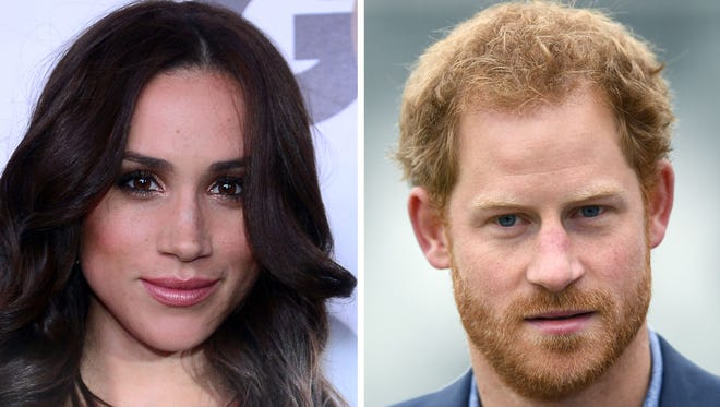 Meghan Markle in Hollywood, on Nov. 13, 2012, and Prince Harry in London on Oct. 7, 2016.