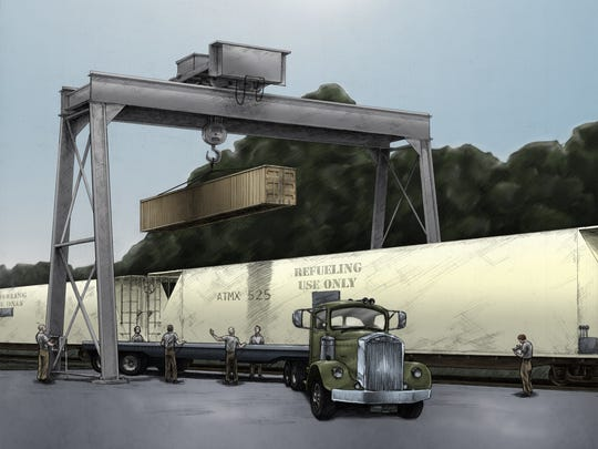 An artist's rendering of nuclear weapons loading at