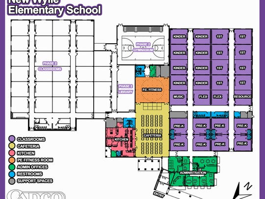 Plans for the layout of the Wylie East Elementary School. The colored portion represents the first phase of the project expected to open to students in August.