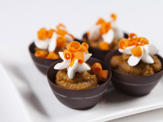 From host property Grand Sierra Resort and Casino comes these miniature chocolate vessels filled with pumpkin mousse.