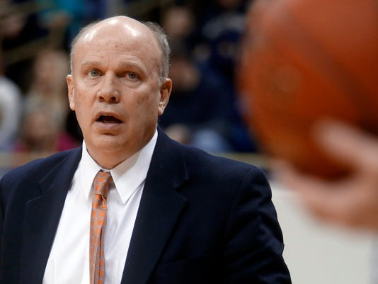 Bryant head coach Tim O'Shea looks to an official in the first half of an NCAA college basketball game against the Pittsburgh on Monday, Feb. 2, 2015, in Pittsburgh. Pittsburgh won 72-67. (AP Photo/Keith Srakocic)