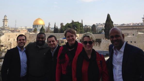 Mandy Wright, center, was part of a delegation chosen for a trip to Israel, Jordan and the Palestinian territories in February.