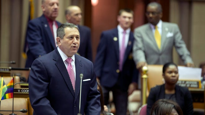 Assembly Majority Leader Joseph Morelle, D-Rochester, speaks on his mixed martial arts bill in the Assembly Chamber at the Capitol on Tuesday, March 22, 2016, in Albany, N.Y. New York is poised to end its ban on professional mixed martial arts, the last state to prohibit the combat sport.  (AP Photo/Mike Groll)