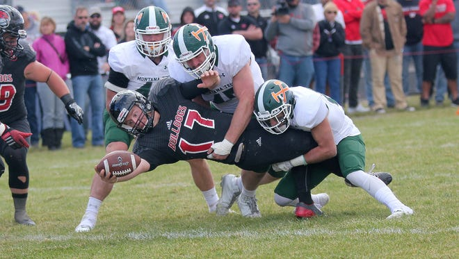 Montana Western quarterback Bennett Gibson scores the game-winning touchdown against Montana Tech with 1:59 to play last Saturday in Dillon.