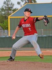 Parkway pitcher Parker Stevens throws in their game against Captain Shreve Thursday.