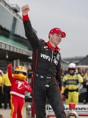 Team Penske IndyCar driver Will Power (12) celebrates