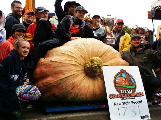 Mountain Green resident Matt McConkie won first place in the Extreme Gardening Superbowl after he weighed in his 1,731 pound pumpkin.