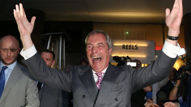 Leader of the United Kingdom Independence Party (UKIP), Nigel Farage reacts at the Leave. EU referendum party at Millbank Tower in central London on June 24, 2016, as results indicate that it looks likely the UK will leave the European Union (EU).