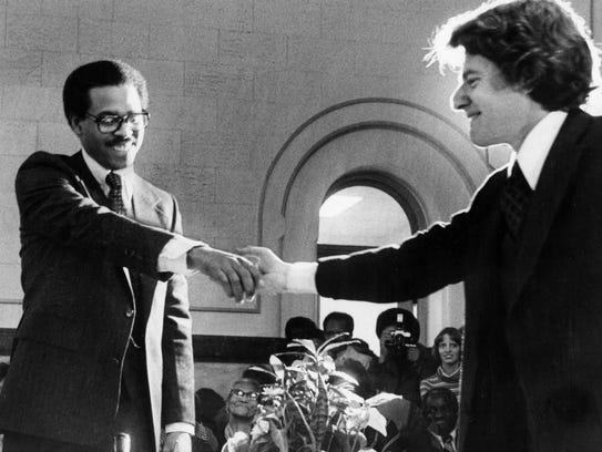 DECEMBER 1, 1977: Jerry Springer, right, and Ken Blackwell,
