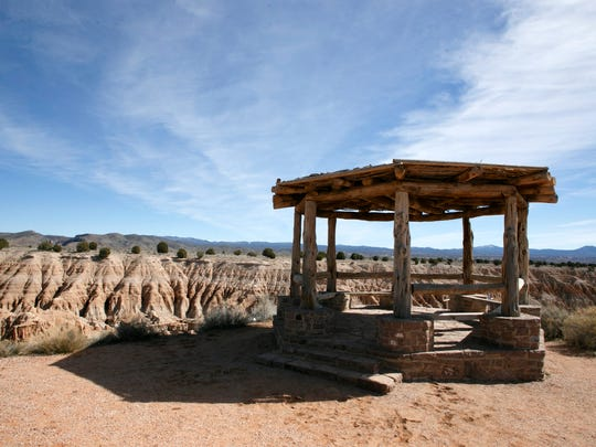 The hexagonal pavilion that stands atop Miller's Point in Cathedral Gorge State Park in Nevada is another structure in the park that was built by members of the Civilian Conservation Corps.