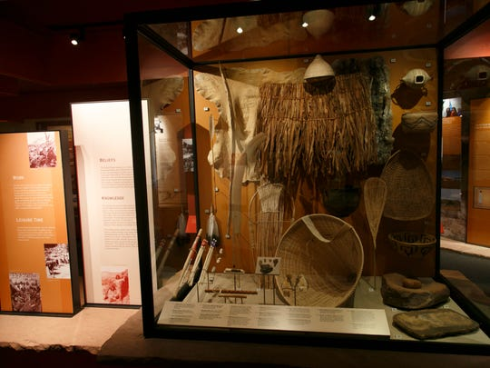 Pioneer and Native American artifacts on display in the museum inside the visitor's center at Pipe Spring National Monument.
