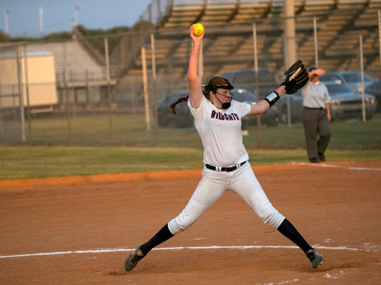Alex Salter pitches for Estero in the Class 7A regional softball semifinal against Fort Myers on Tuesday at Estero High School.