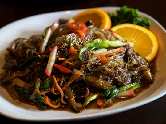 Japchae is made with sweet potato noodles, vegetables