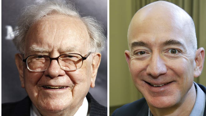 This combination of photos from left shows Warren Buffett on Sept. 19, 2017, in New York, Jeff Bezos, CEO of Amazon.com, on Sept. 24, 2013, in Seattle.