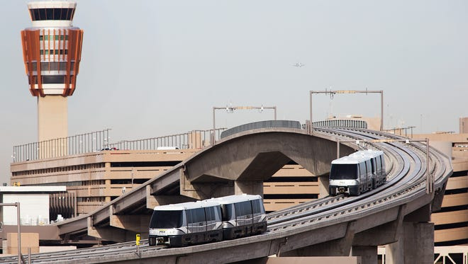 Sky Trains make test runs at Sky Harbor International Airport, Wednesday, March 26, 2013.