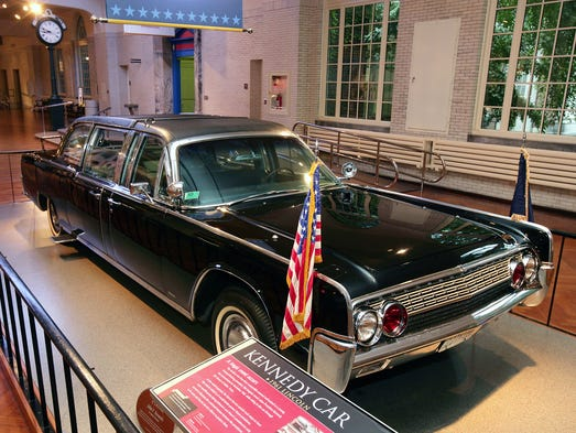 The Kennedy car on display at the Henry Ford museum in Dearborn, Mich.