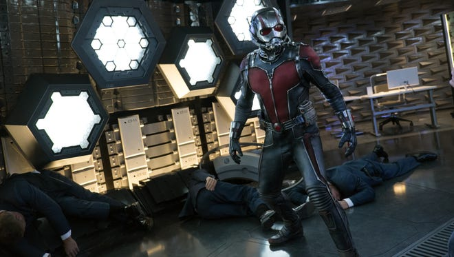 "The suit makes the Ant-Man. The hero of ""Ant-Man,"" played by Paul Rudd takes on all comers in the Futures Vault of Pym Technologies."