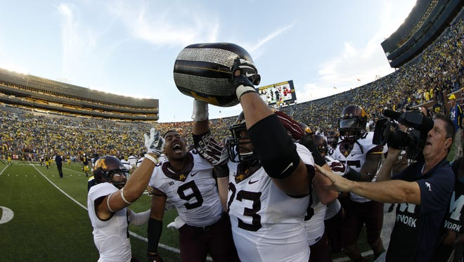 Minnesota reclaimed the Little Brown Jug last season after a 30-14 win at Michigan Stadium.