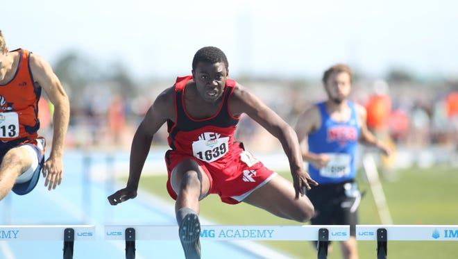 North Florida Christian senior Leonard Holmes captured a Class 1A state title in the 110m hurdles on Saturday at the FHSAA Track & Field Championships in Bradenton. Holmes also earned a silver medal in the 300m hurdles.