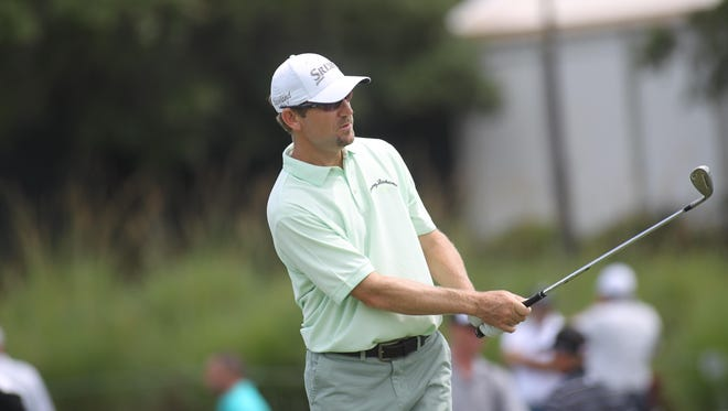 Former Florida State golfer George McNeill plays a practice round Tuesday at TPC Sawgrass in advance of THE PLAYERS Championship. McNeill, 40, is now a grizzly veteran presence on the PGA Tour. McNeill, who lives in Fort Myers, has won twice in his career and hopes he has one more in him before he stops playing.