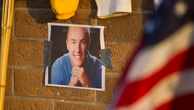 A memorial for Joe Smith at Horizon High School in Scottsdale on June 21, 2016. Smith, a recent Horizon graduate, was killed in a car crash outside Quartzsite on June 17, 2016.