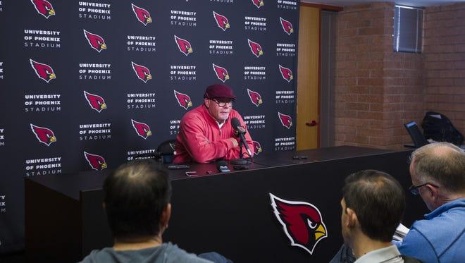 Arizona Cardinals head coach Bruce Arians talks to media to wrap up the 2016 season at Arizona Cardinals Football Club in Tempe, Az., on Jan 2, 2016.