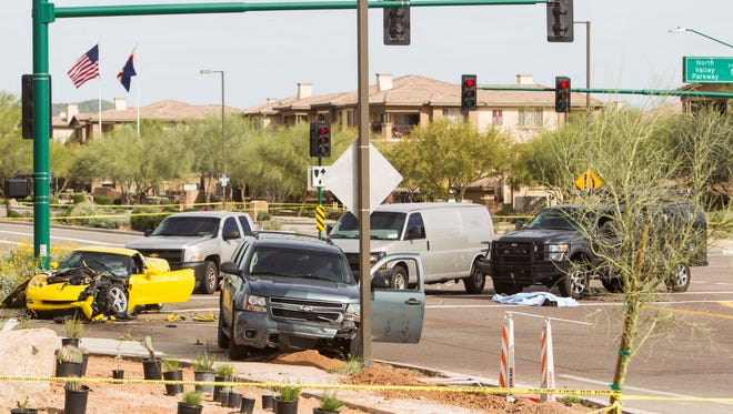 Shots were fired after a high-speed police chase that ended in north Phoenix when an undercover officer intentionally crashed into a yellow Corvette they were pursuing Wednesday afternoon.