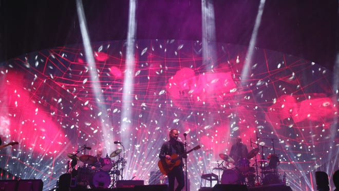 Radiohead performs on the Coachella Stage during the first weekend of the 2017 Coachella Valley Music and Arts Festival in Indio, California.
