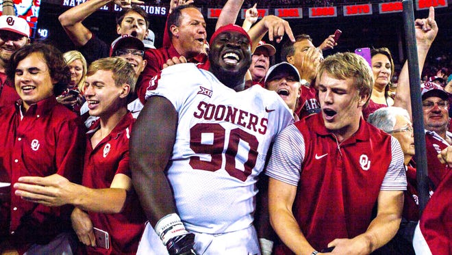 Oklahoma players celebrate their win over Ohio State on Saturday.