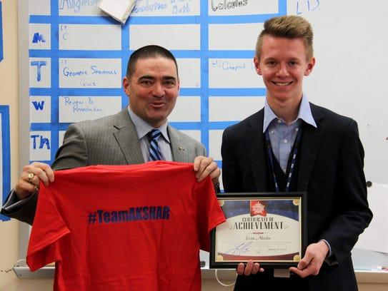 Whitney High School senior Evan Maslin was recognized