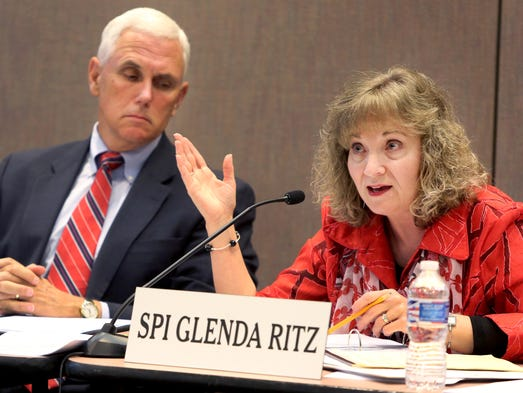 Gov. Mike Pence and Superintendent of Public Instruction Glenda Ritz lead the Indiana Education Roundtable meeting at the Indiana Government Center in Indianapolis on Monday, June 23, 2014.
