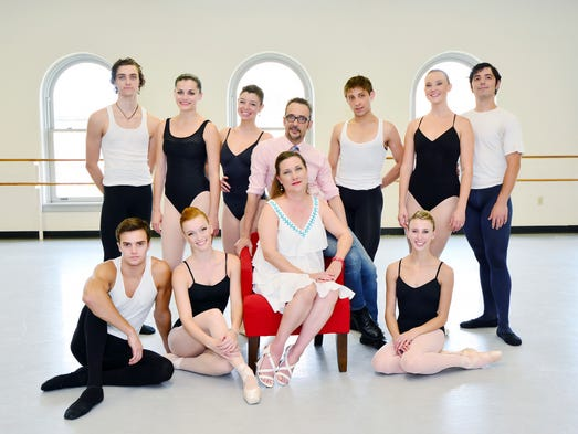 A portion of the Ballet Pensacola dancers with Creative Director Richard Steinert and Ballet Mistress Christine Duhon.  Front Row: Garrett Poladian, Bridget White, Christine Duhon, Kayla Bartlett  Back Row: Dustin Simmons, Amanda Clayton, Debi Janea, Richard Steinert, Jordan Burke, Erin Lapaglia-Kottler, Samuel Joseph Mounce. For