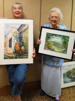 Cedar Crest residents Helen Greenberg and Virginia Truslow with their artwork.