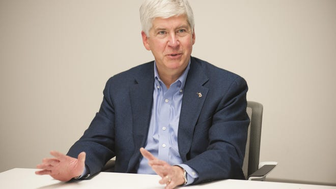 Michigan Gov. Rick Snyder talks about the Flint water crisis and the emails which will soon be released during seesion with The Detroit News Editorial Board and reporters on Monday.