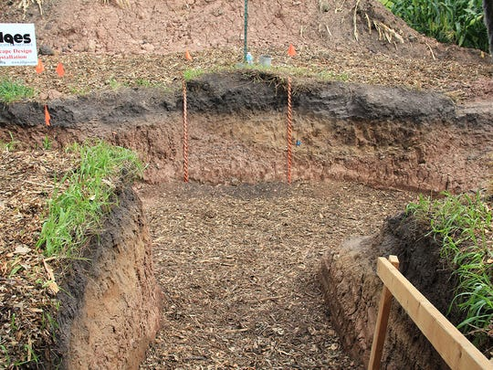 A soil pit was dug on-site with the left side being