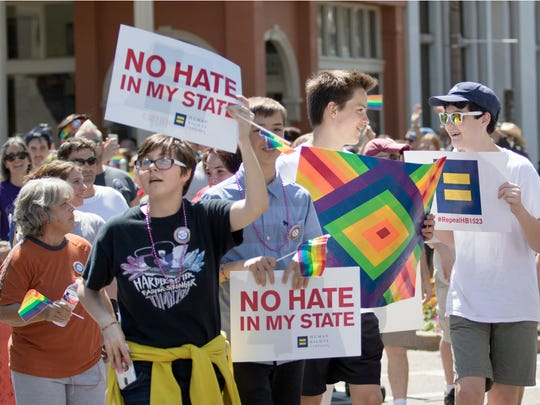 Parade-goers support the LGBT community during Lafayette-Oxford-University