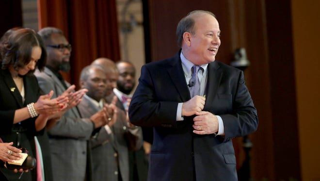 Detroit Mayor Mike Duggan gives his annual State of the City Address on Tuesday, March 6, 2017 at Western International High School in Southwest Detroit.