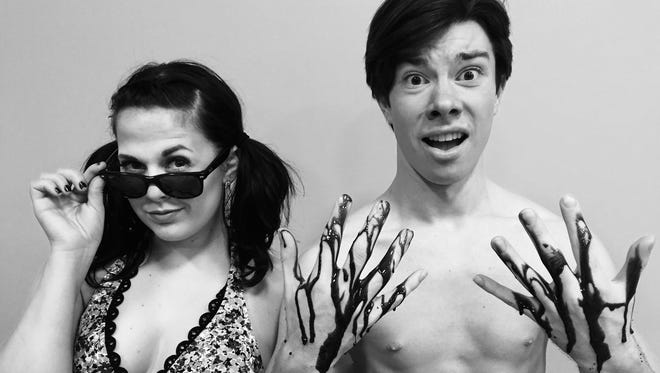 "Jenna Pryor as Chicklet and Nathan Stultz as Provoloney in Music City Theatre Company's ""Psycho Beach Party."""