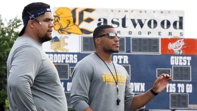 Former UTEP football players Paulo Melendez, left, and Nathan Jeffrey are now assistant coaches at Eastwood High School.
