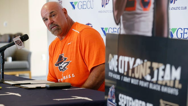 UTEP head coach Sean Kugler addressed the media at his weekly press conference reviewing the Texas loss and then focusing on this week's opponent the Army Black Knights. Army comes into Saturday's 5 p.m. game with a record of 2-0 as UTEP sports a 1-1 record after their loss at Texas. UTEP will look for a way to stop the triple option that Army runs, while trying to establish its own running game with rushing leader Aaron Jones. Fans will be treated to a Black Hawk fly-over and the first 20,000 fans that enter the Sun Bowl will receive a red, white or blue waving towel and dog tags, to welcome the Army Black Knights.