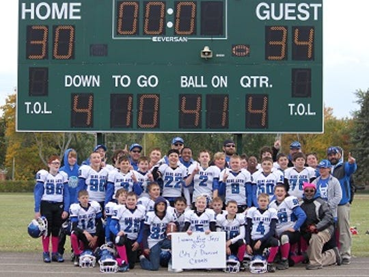 Members of the Blue Jays are pictured following last week's eighth victory of the season.