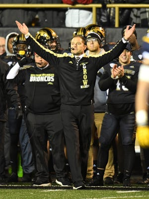 Western Michigan Broncos head coach P.J. Fleck reacts during the first half against the Toledo Rockets at Waldo Stadium.
