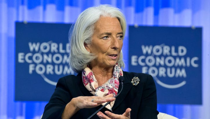 Head of the International Monetary Fund Christine Lagarde gestures as she speaks during a session at the World Economic Forum in Davos, Switzerland, Jan. 25, 2014.