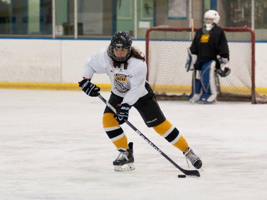 Aurora Maginn, 13, practices this past spring at the Coral Ridge Ice Arena. Players are forming a new U14 girls' team this fall called the Eastern Iowa Lady Hawks.