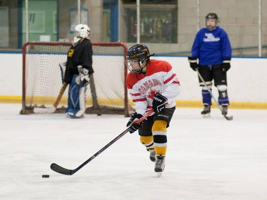 Alicia Ungaro, 12, skates during a girls' hockey team practice this past spring at the Coral Ridge Ice Arena. Players are forming a new U14 girls' team this fall called the Eastern Iowa Lady Hawks.