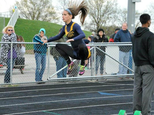 Eastern York's Katie Keller warms up during Wednesday's track meet against York Suburban.